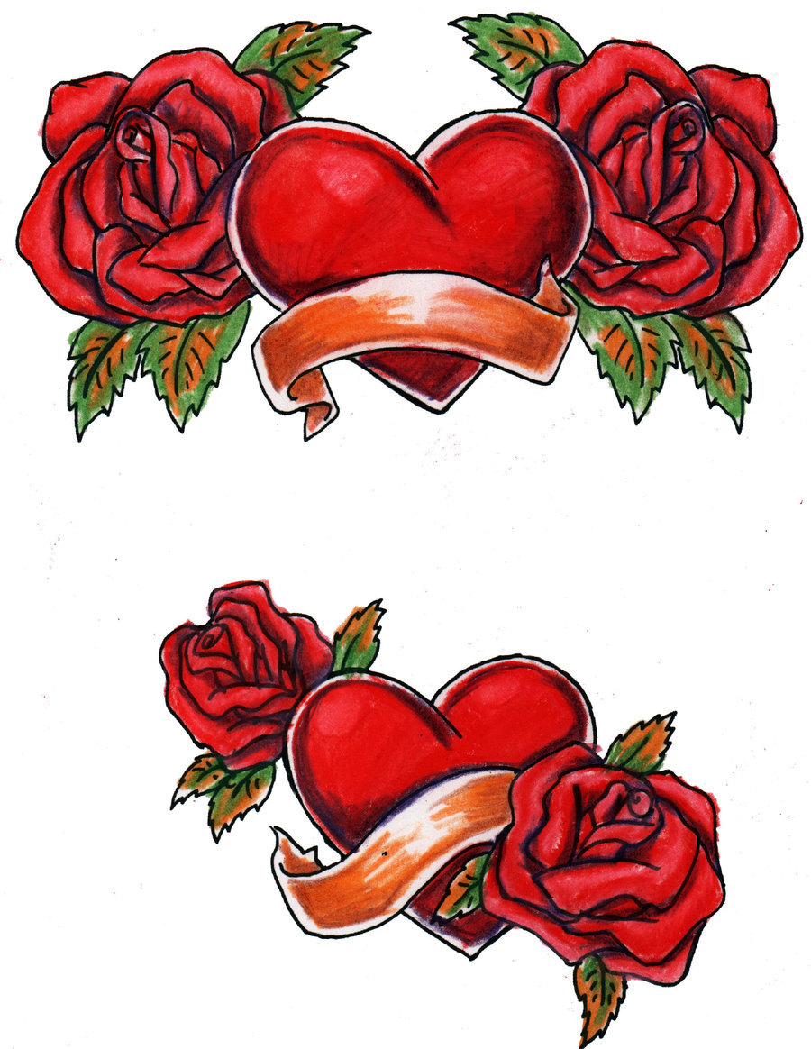 Hearts And Roses Drawing at GetDrawings.com | Free for personal use ...
