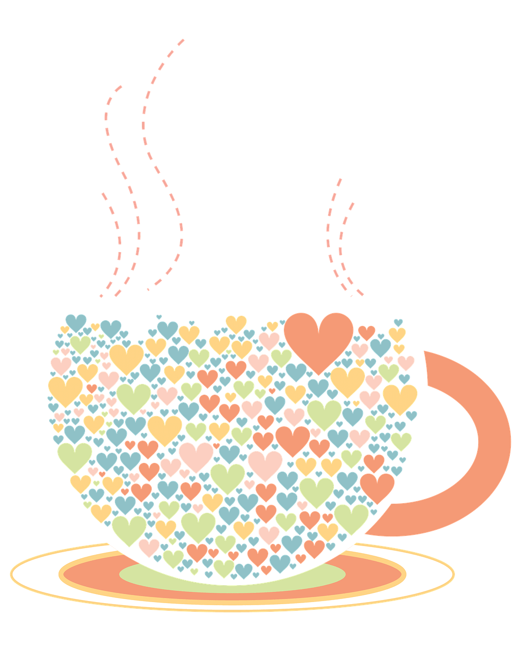 1024x1280 Cup Hearts Drawing Transparent Png