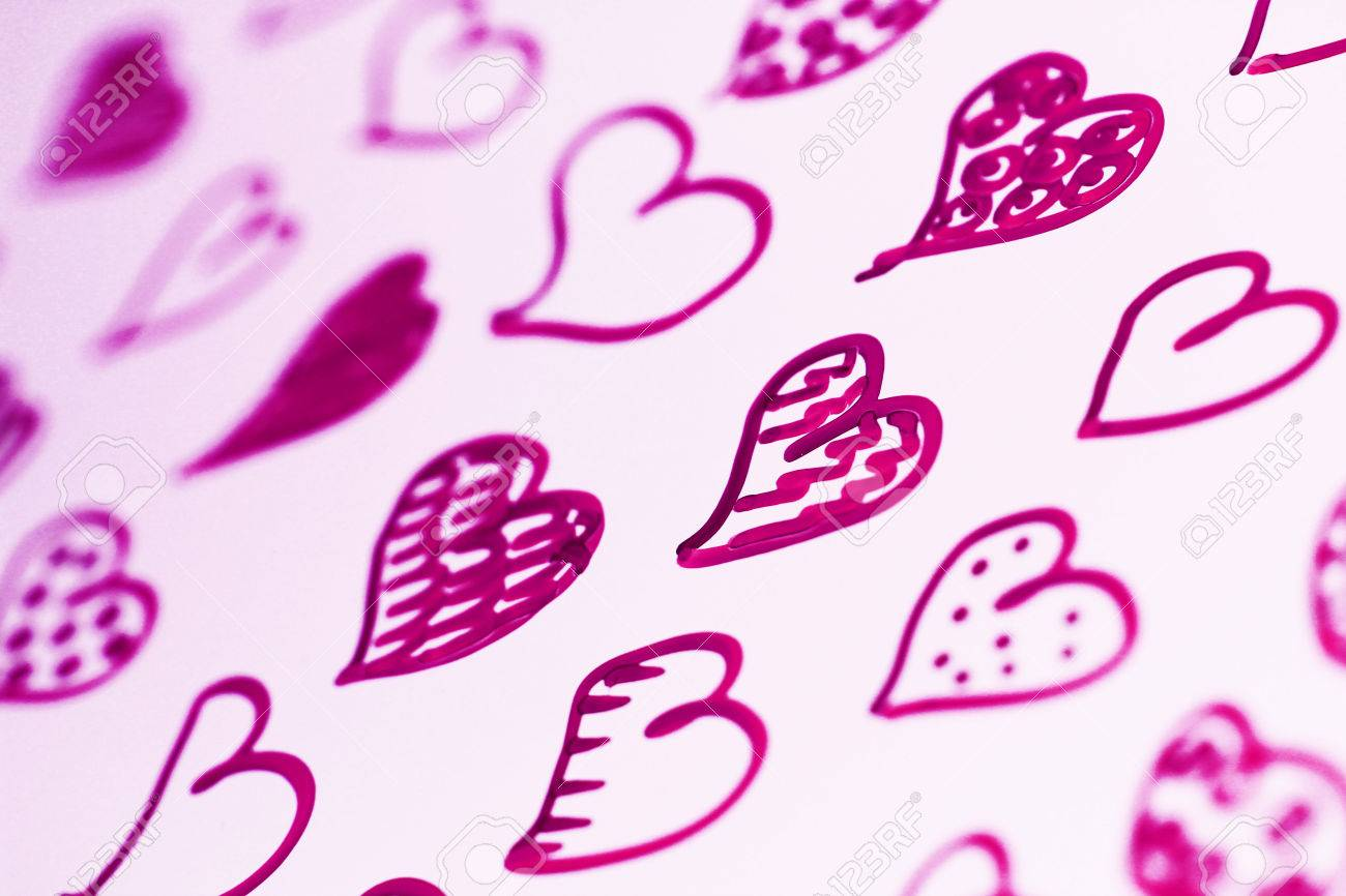 1300x866 Purple Hearts Drawing Pattern Close Up Abstract Background Stock