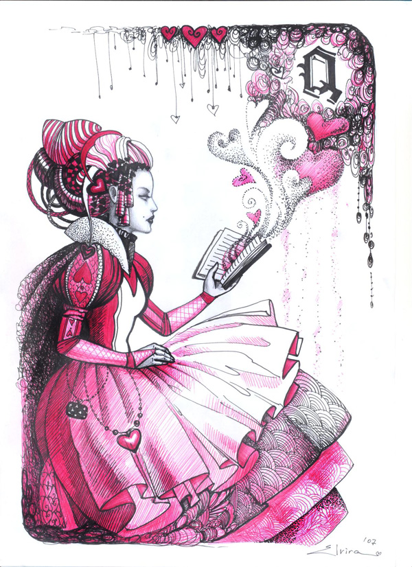 600x826 Queen Of Hearts, Drawing, Miscellaneous By Elvira Yagudina