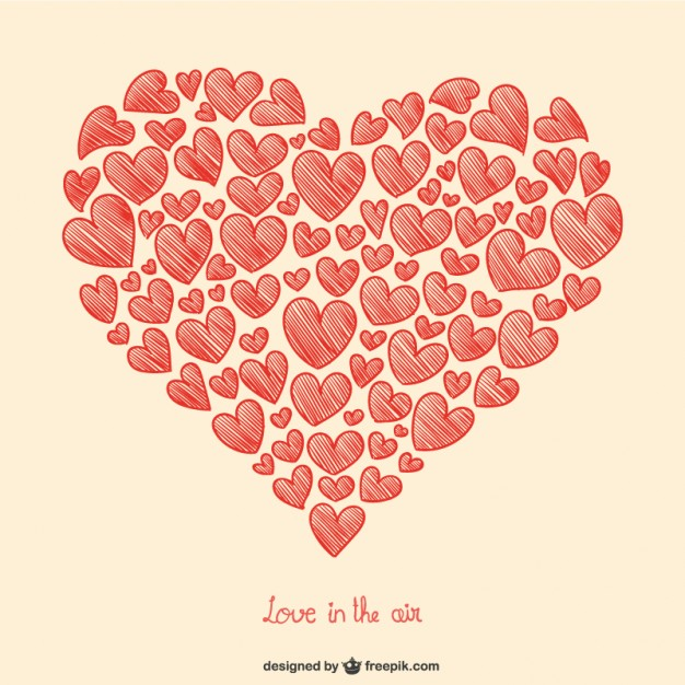 626x626 Valentine's Hearts Drawing Vector Free Download