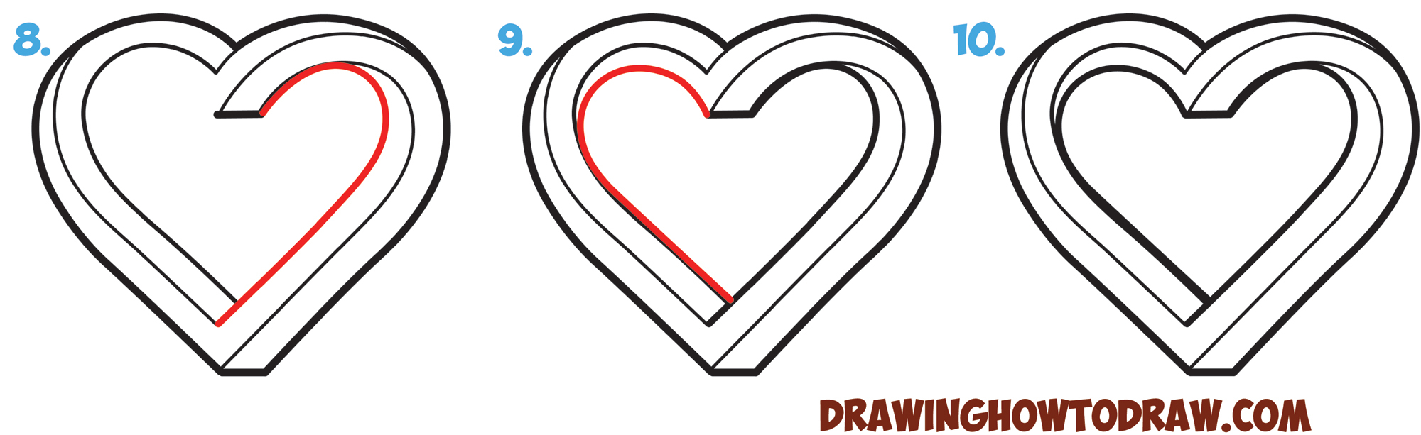 2000x613 Pics Of Hearts Drawing How To Draw An Impossible Heart