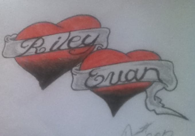 Two Heart Drawings With Ribbons