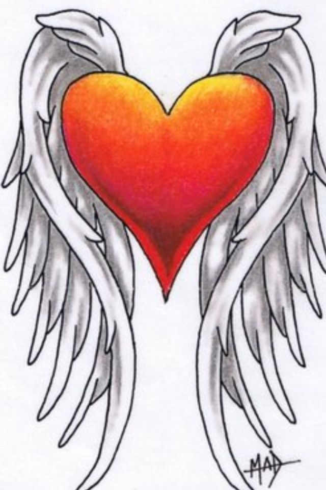 640x960 Collection Of Vintage Heart Wings Tattoo Design