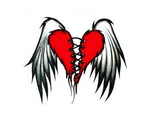 300x225 Drawing Heart Of With Bird Wings Tattoo