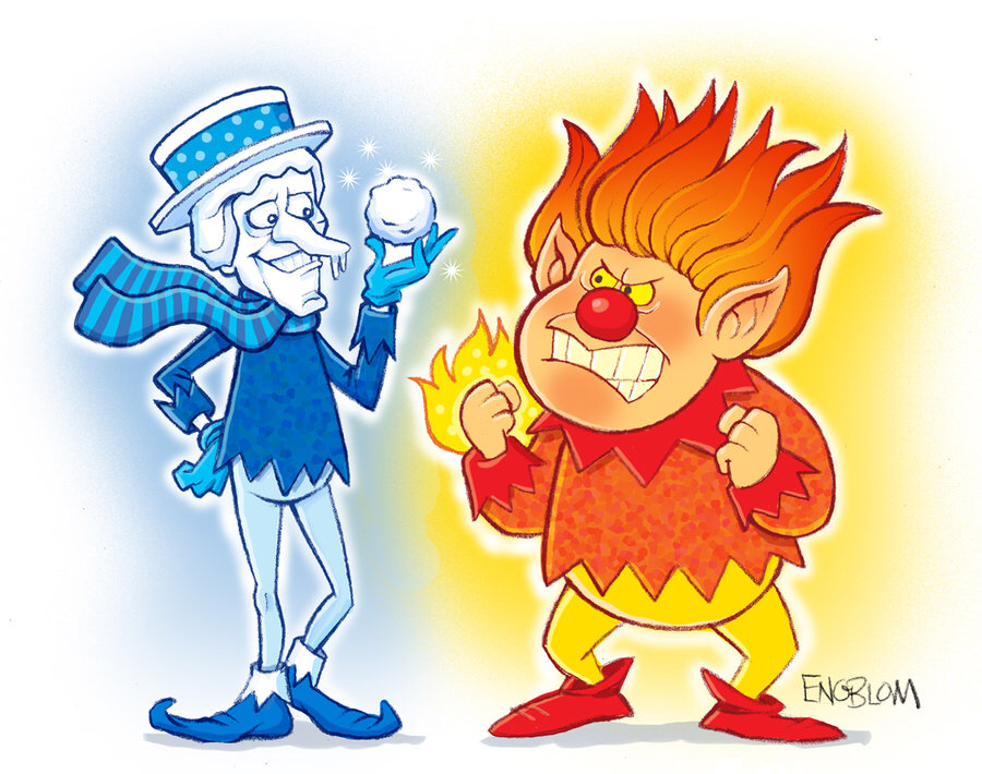 900x710 Cold Miser And Heat Miser Drawing Holiday Christmaswinter