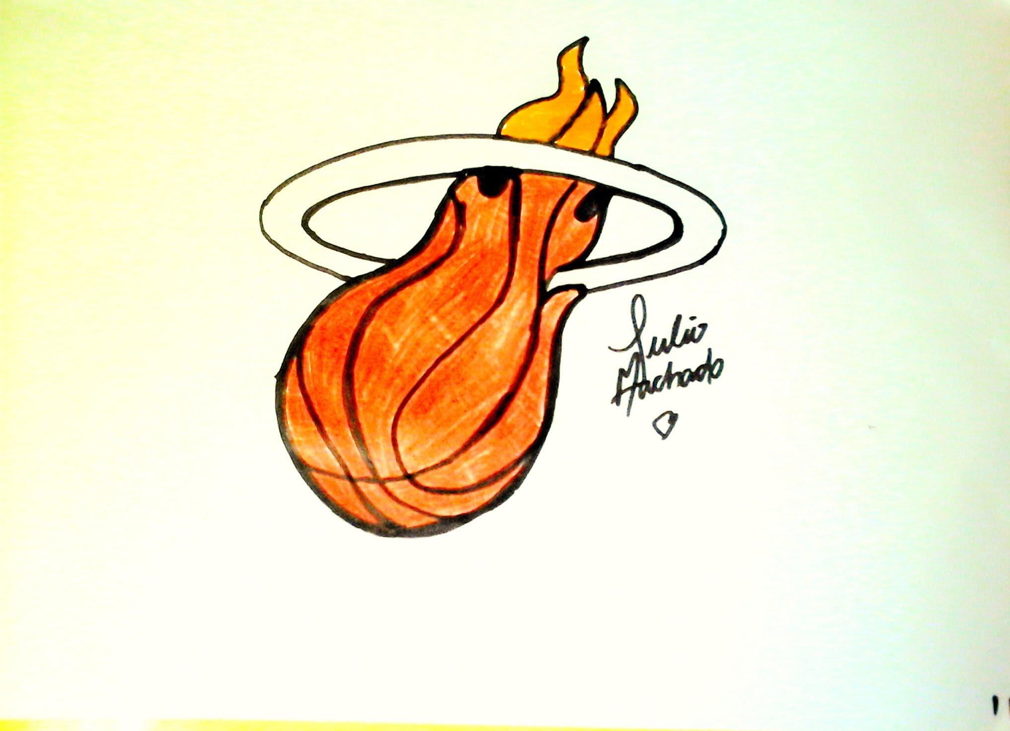 2035x1473 Nba] How To Draw Miami Heat Logo