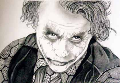 420x293 Heath Ledger As The Joker Charcoal Portrait Claire's Portraits