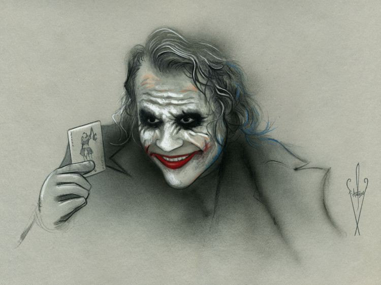750x562 Joker Pencil Amp Airbrush Drawing 12 X 18 Inch Artwork
