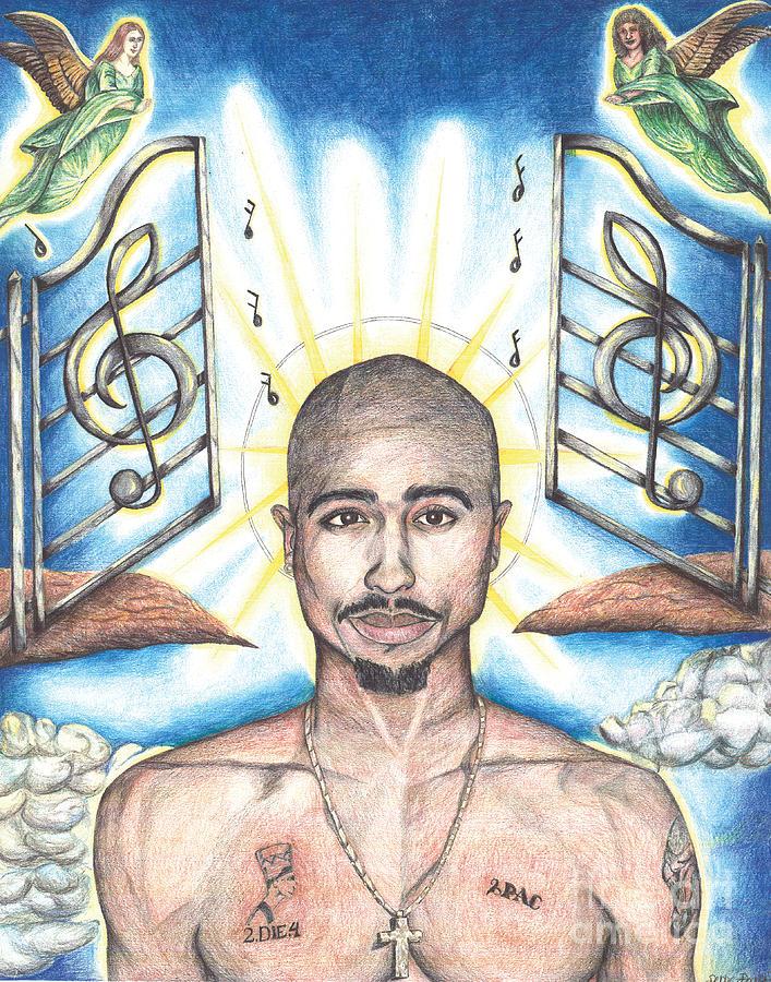 707x900 Tupac In Heaven Drawing By Debbie Dewitt