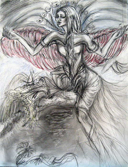 537x700 Heavenly Angel Drawing By Yelena Rubin