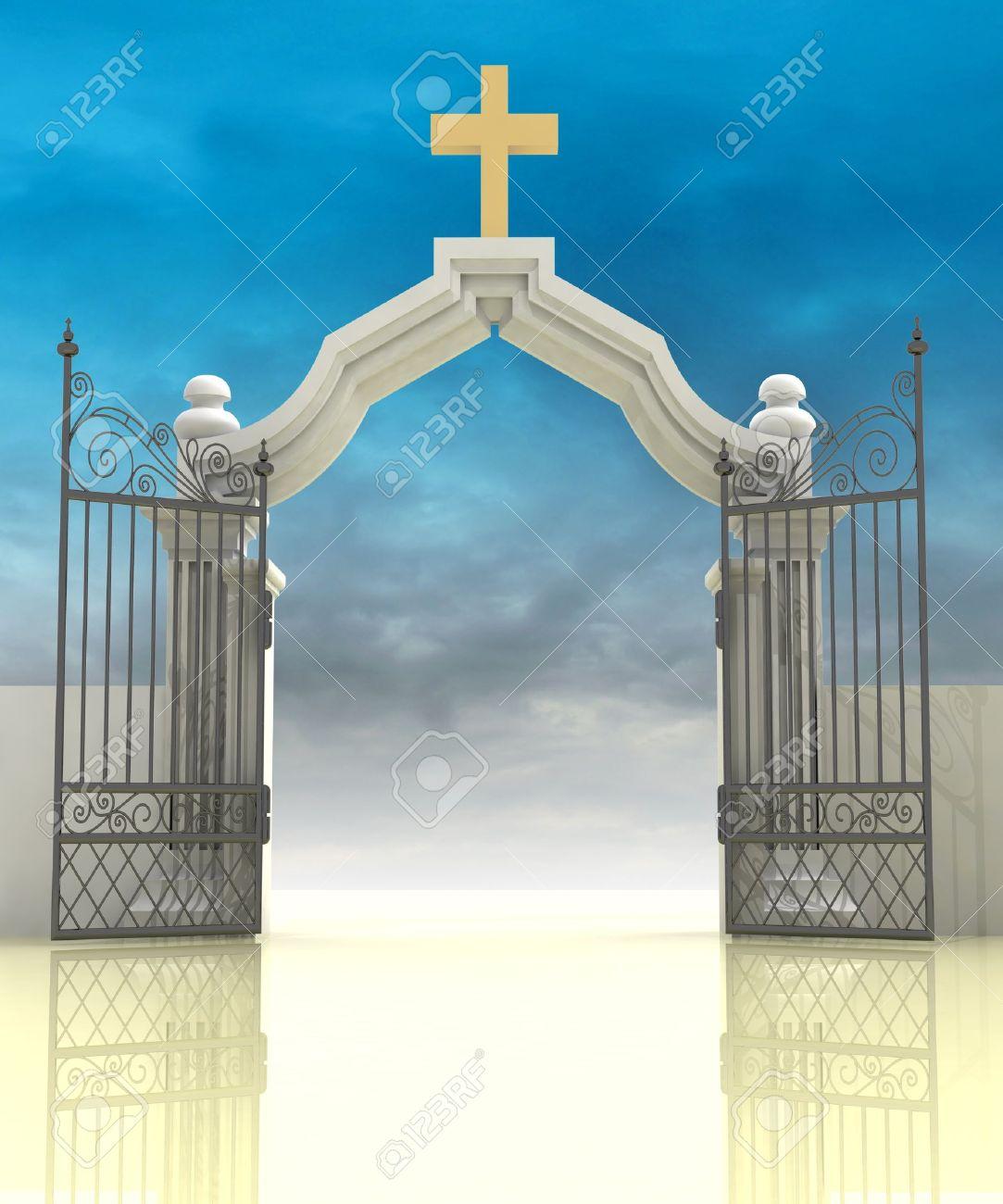 1083x1300 Opened Entrance To Paradise With Sky Illustration Stock Photo