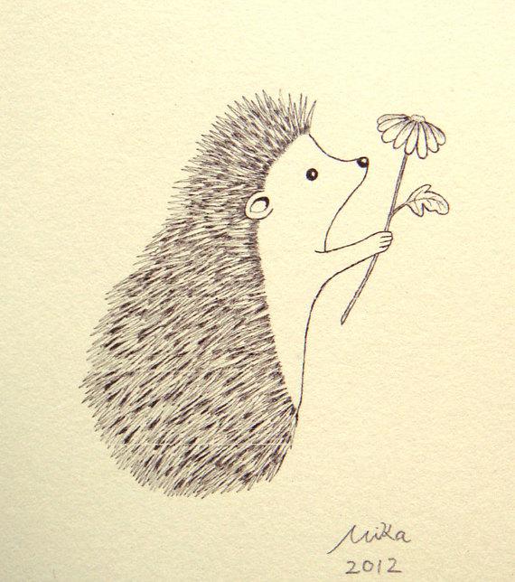 570x644 Hedgehog Illustration Print Ink Drawing Print Black Amp White