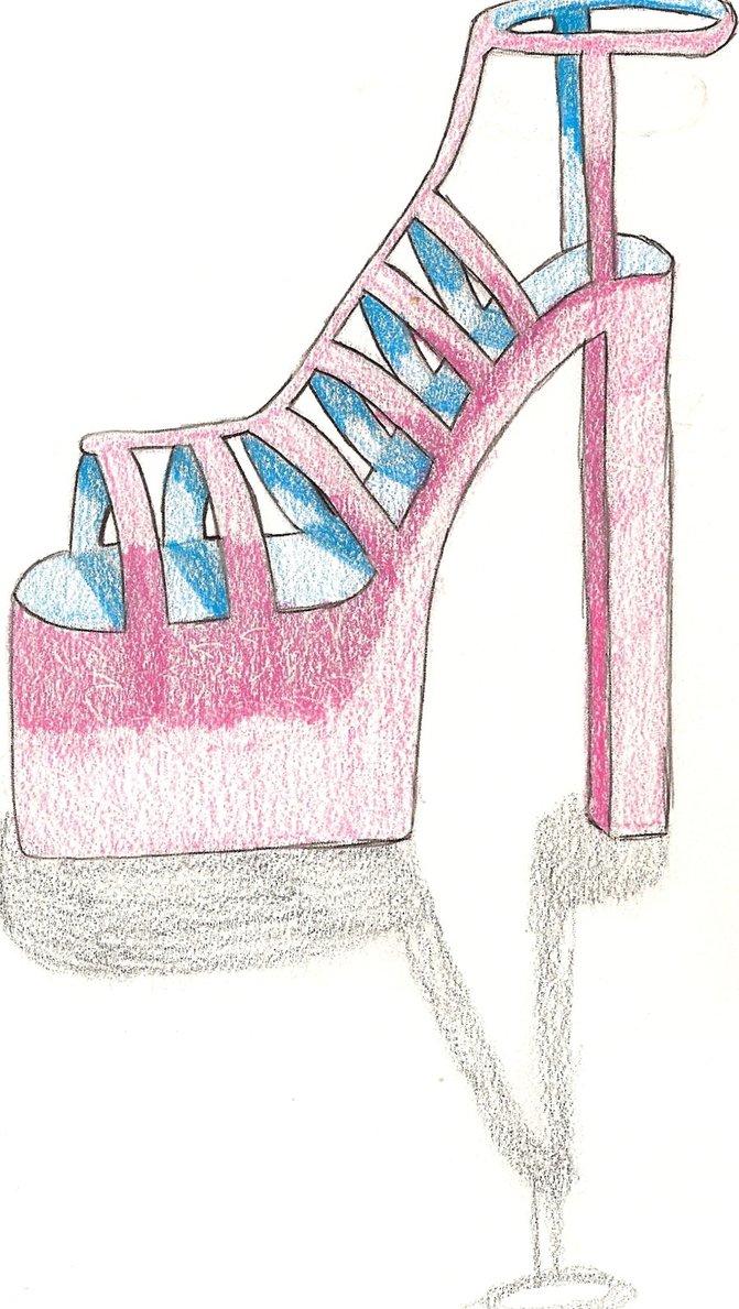 671x1189 High Heel Drawing By Okamixkeshin