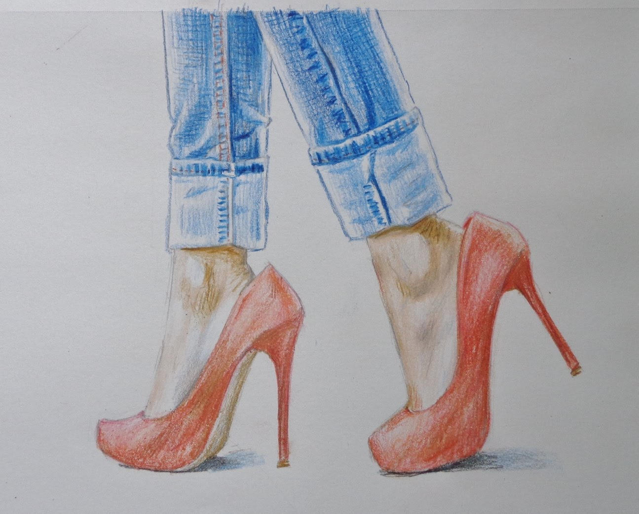 1295x1043 In This Video, I Am Going To Draw Feet In Red High Heels And Blue
