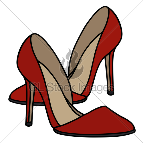 500x500 Red Needle Heel Shoes Gl Stock Images
