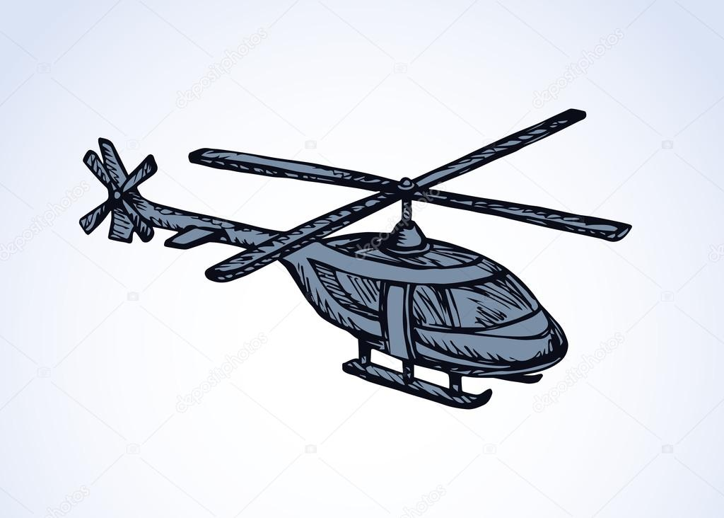 1024x732 Helicopter. Vector Drawing Stock Vector Marinka