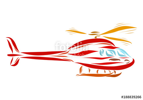 500x350 Red Flying Helicopter, Drawing In Smooth Lines Stock Photo