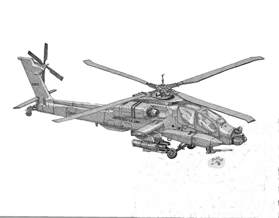 900x702 Apache Helicopter Drawing