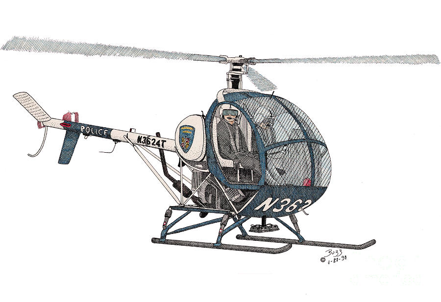 900x617 Bcpd Helicopter Drawing By Calvert Koerber