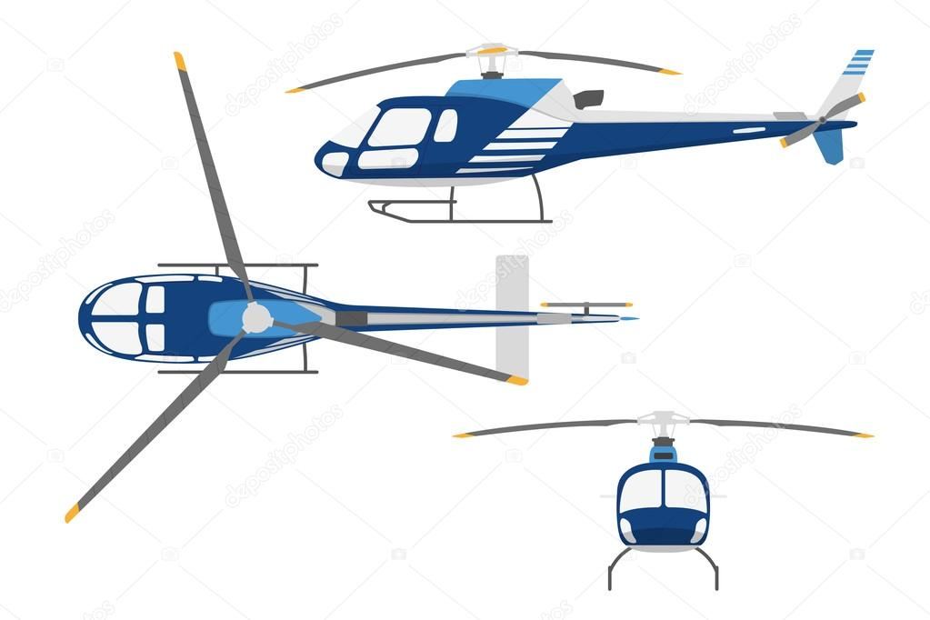 1023x682 Drawing A Helicopter In A Flat Style. Top View , Side View, Fron
