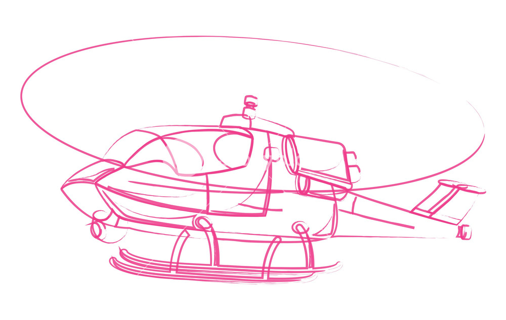 1000x633 Flying Helicopter Drawing Royalty Free Stock Image