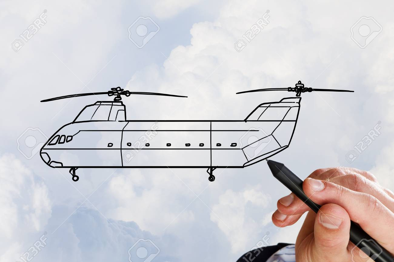 1300x866 Person Hand Drawing Helicopter Model Ob Sky Background Stock Photo