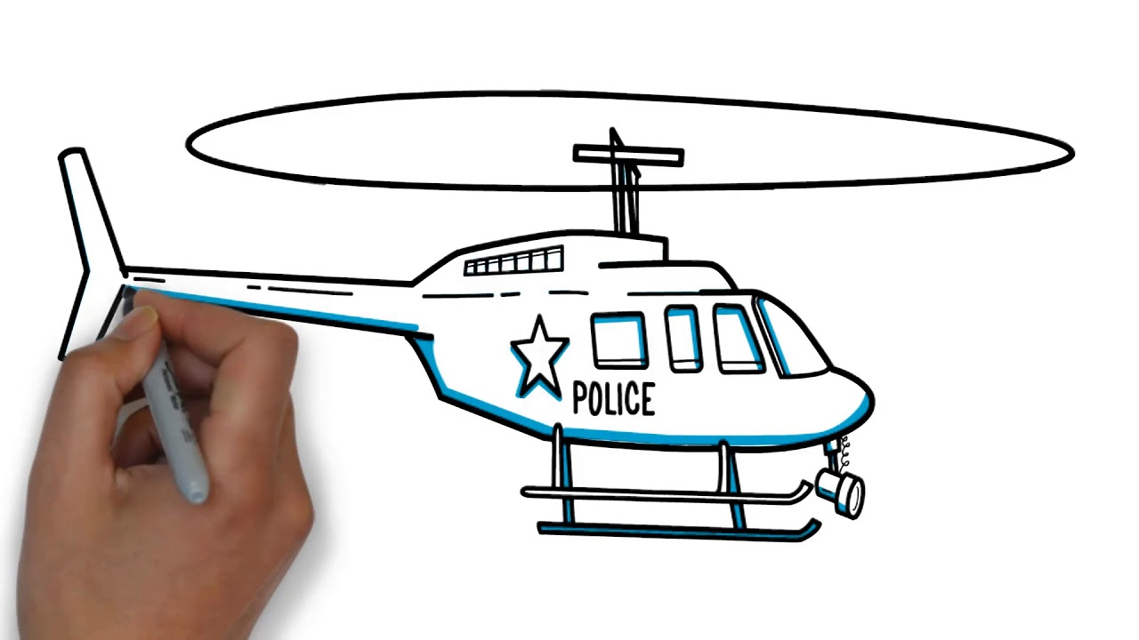 1280x720 How To Draw Police Helicopters ! Drawing For Kids ! Youtube Videos