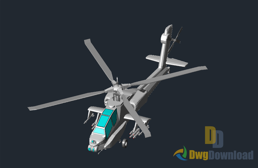 1000x650 3d Helicopter Drawing Dwg Download