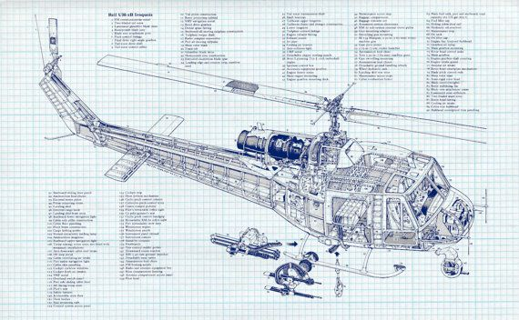 570x352 Bell Uh 1b Iroquois Military Helicopter Engineering Drawing