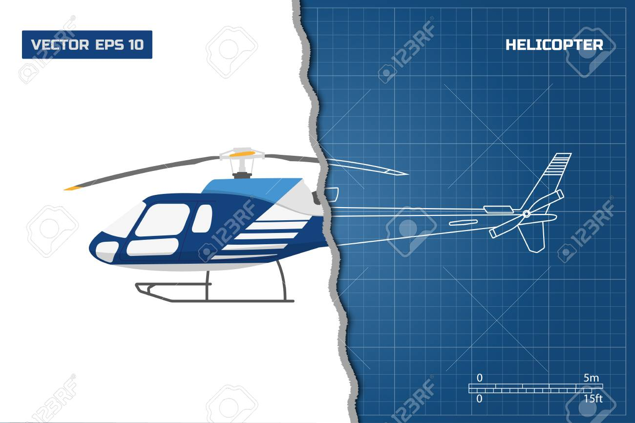 1300x866 Engineering Blueprint Of Helicopter. Helicopters View Top, Side