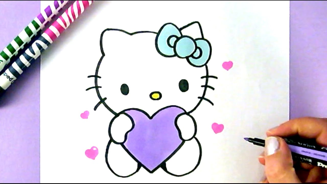1280x720 How To Draw Hello Kitty With Love Hearts Easy Drawing Tutorial
