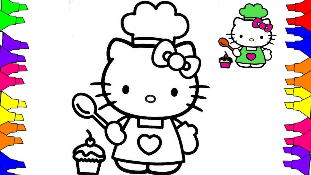 1280x720 Hello Kitty Coloring Pages , How To Draw Hello Kitty Cooking