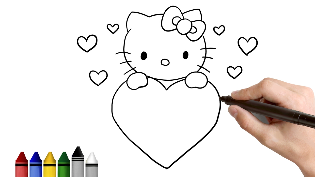 1280x720 How To Draw Hello Kitty For Valentine's Day Drawing For Kids