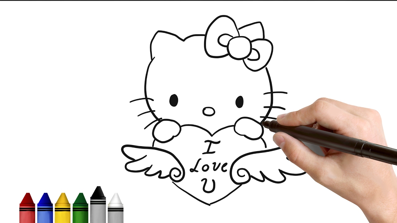 1280x720 How To Draw Hello Kitty For Valentines Day Drawing For Kids