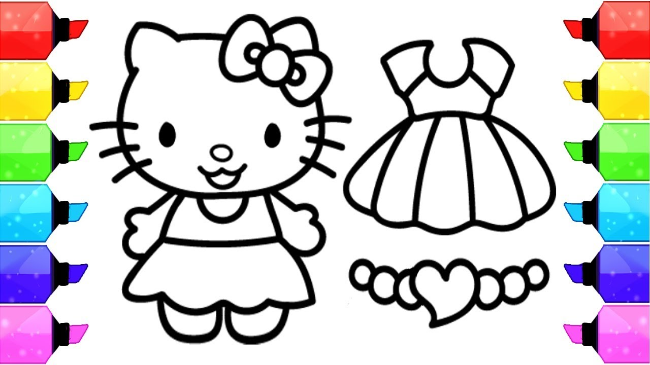 1280x720 Hello Kitty Coloring Pages How To Draw Hello Kitty Dress Up Game
