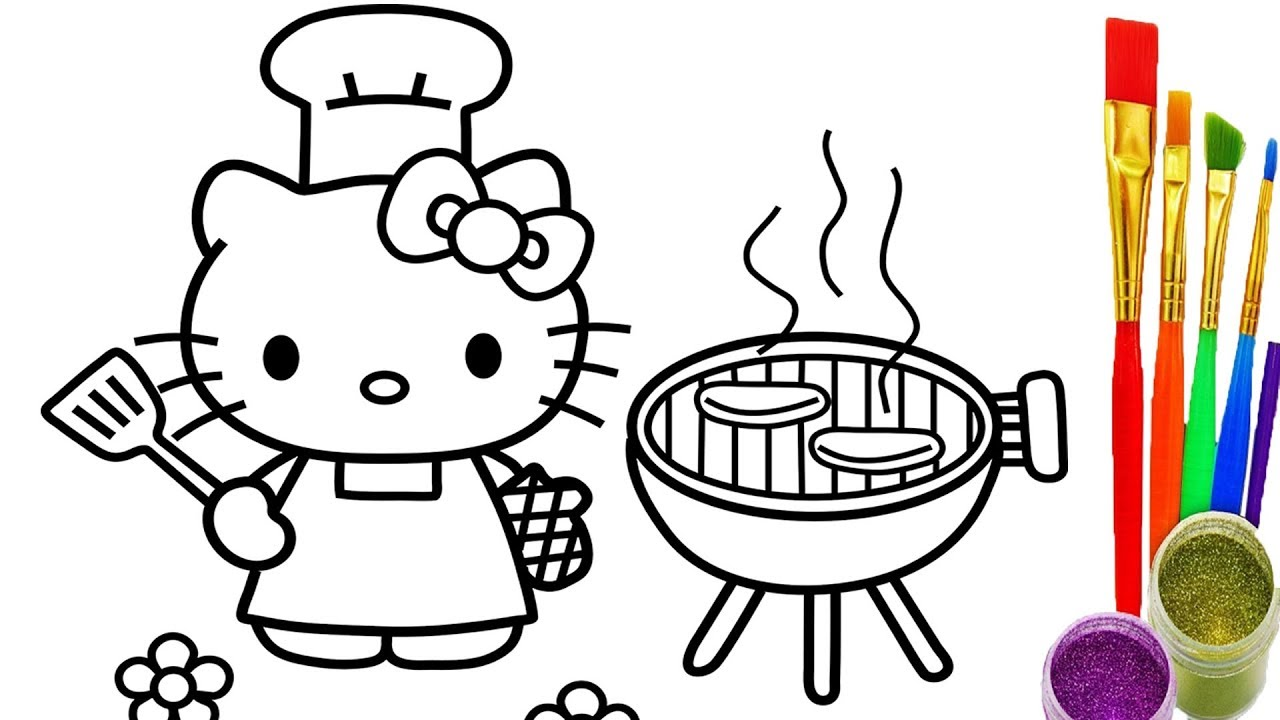 1280x720 hello kitty coloring pages how to draw kitty bbq party videos
