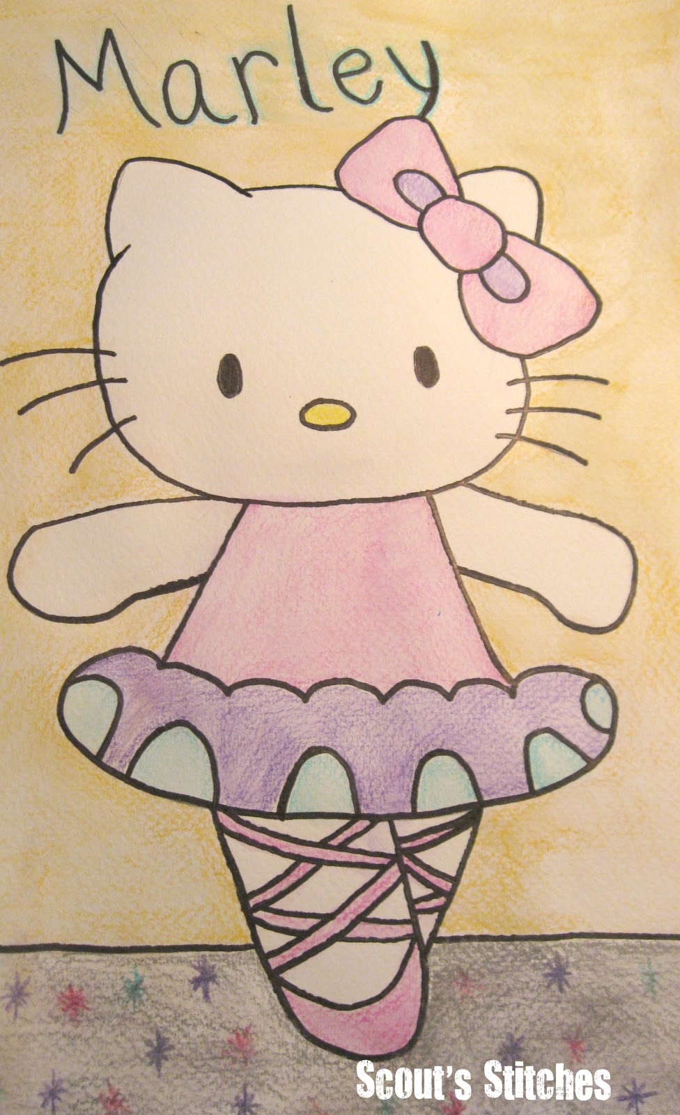 976x1600 All The Joy Water Color Pencil Drawing Of Hello Kitty