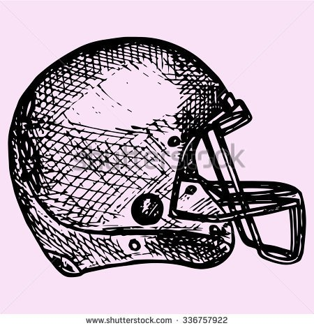 450x470 American Football Helmet, Doodle Style, Sketch Illustration, Hand