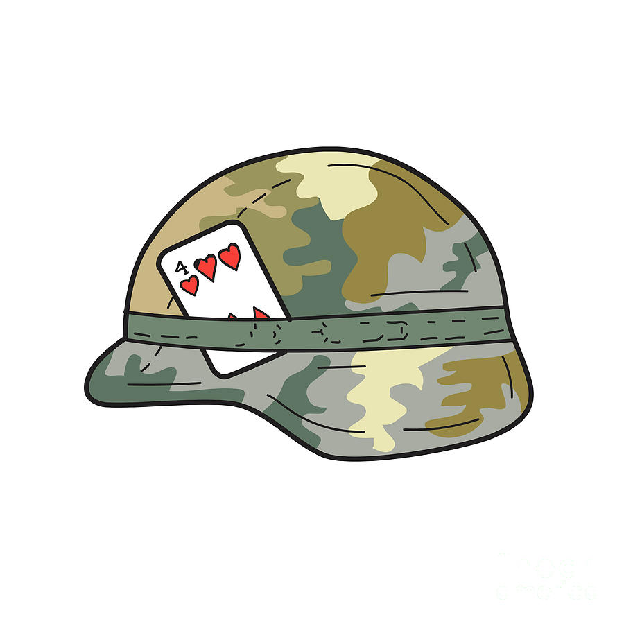 900x900 Us Army Helmet 4 Of Hearts Playing Card Drawing Digital Art By