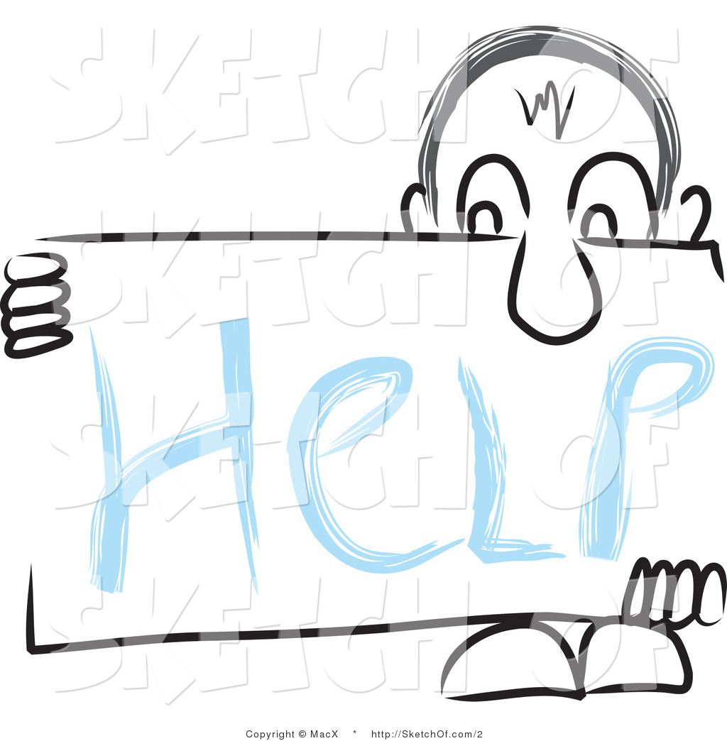 1024x1044 Drawing Of A Man Holding A Help Sign Under His Nose By Macx