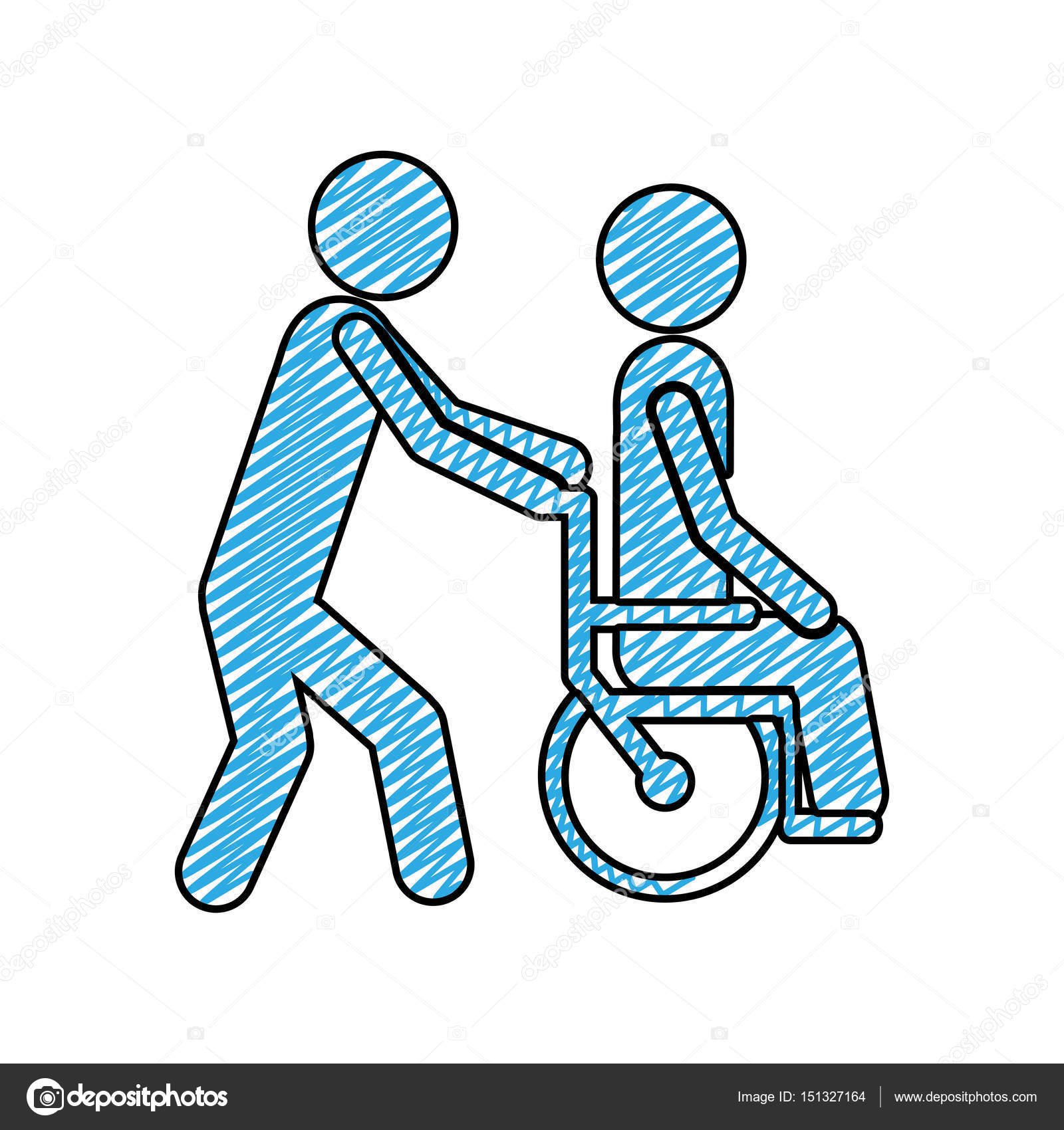 1600x1700 Color Pencil Drawing Of Person Helping Another Push A Wheelchair