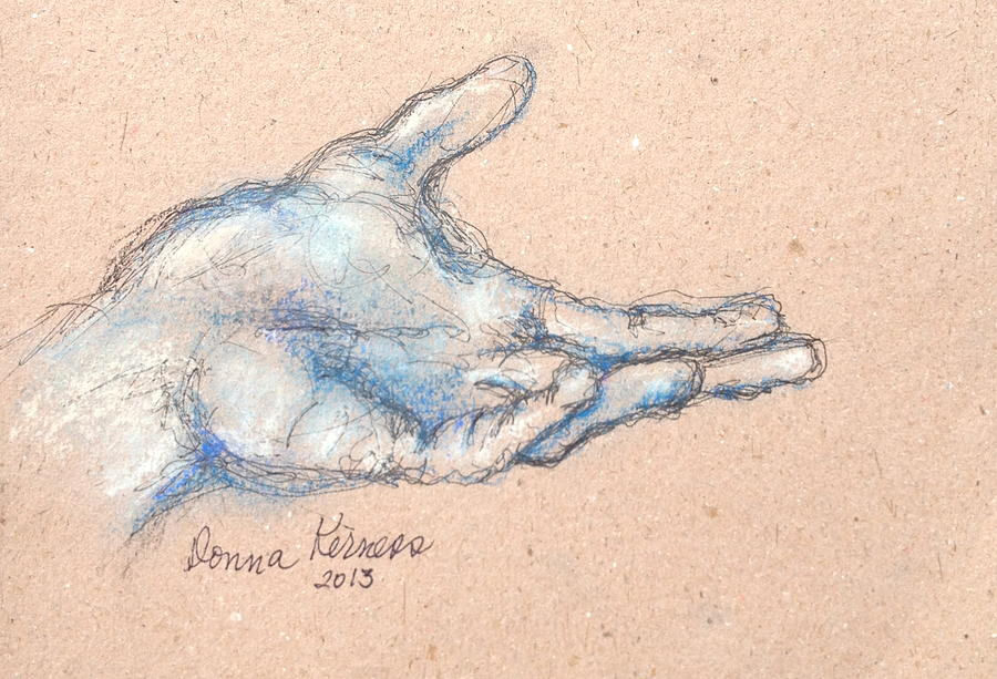 900x613 Helping Hand Drawing By Donna Kerness
