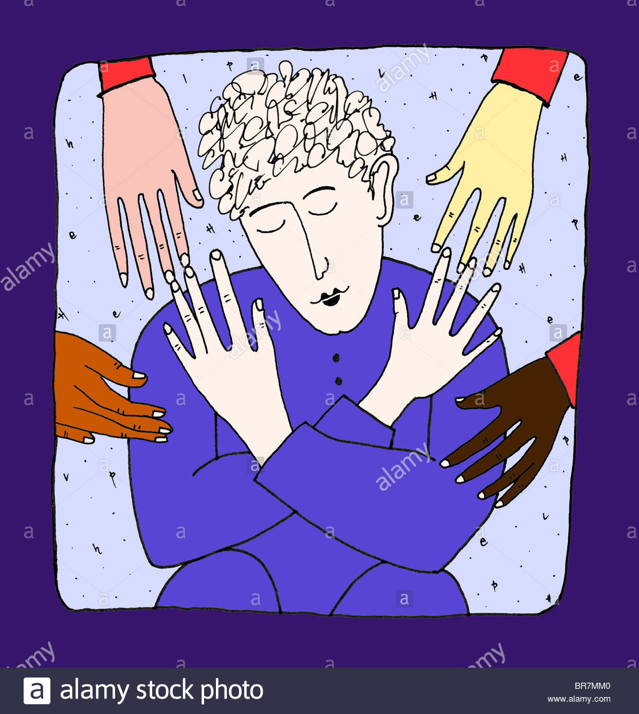 1243x1390 A Drawing Of A Woman And Helping Hands Stock Photo, Royalty Free