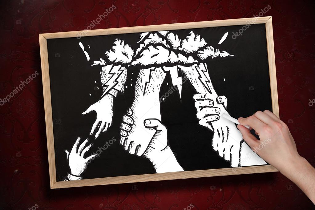1023x682 Hand Drawing Helping Hands With Chalk Stock Photo