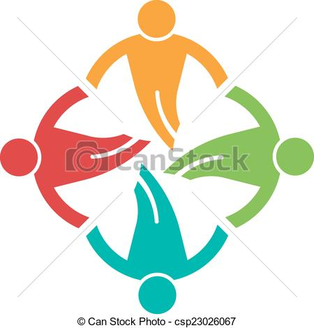 450x470 People Ground In Circle 4 , Helping Each Other.vector Icon Clip