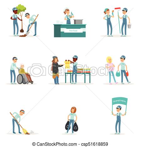 450x470 Set Of Young Volunteers Helping People. Set Of Young Clipart