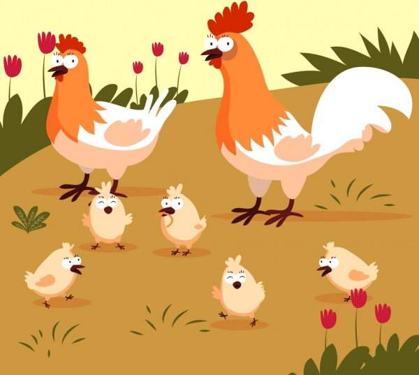 600x537 Chicken Farm Drawing Hen Cock Chick Icons Free Vector In Adobe