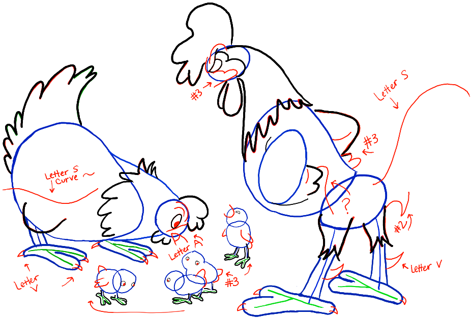 926x627 How To Draw Cartoon Chickens With A Hen, A Rooster, And Baby