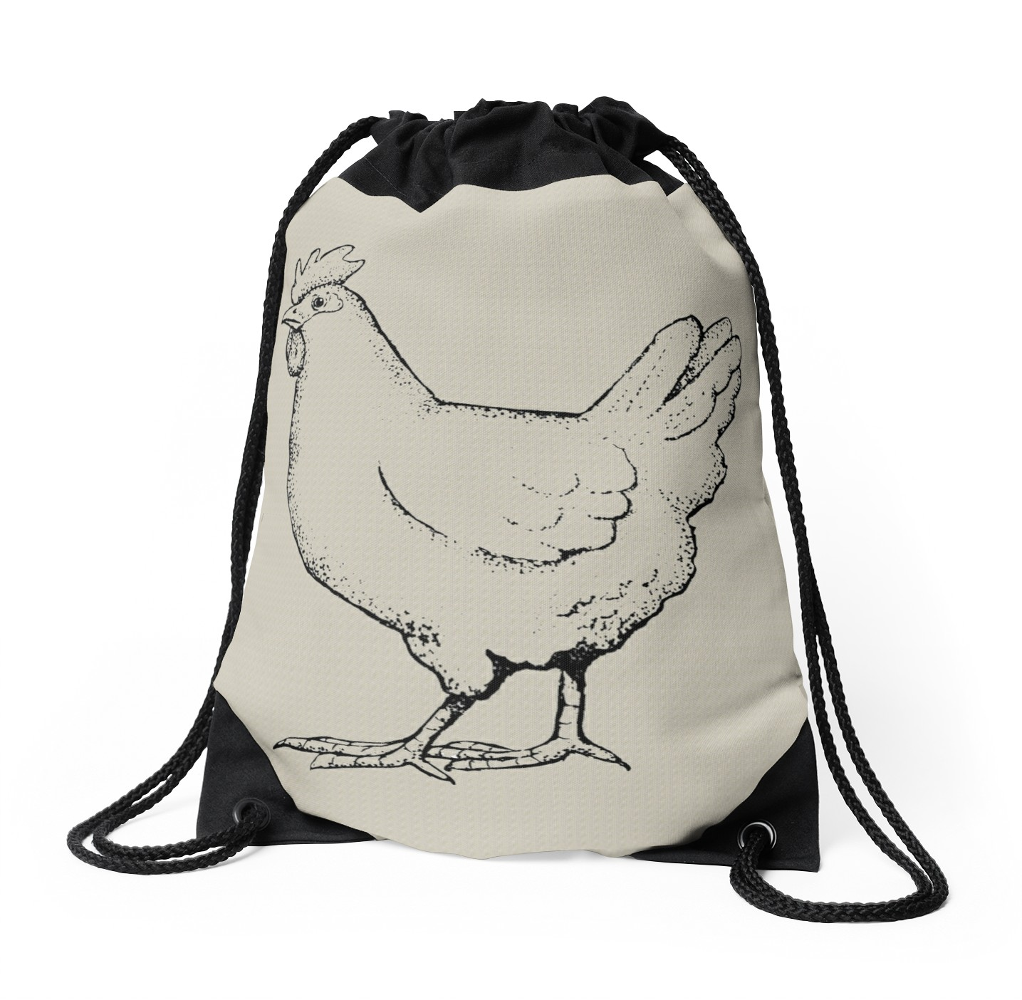 1435x1404 Chicken Outline Art Hen Drawing Of A Chicken Drawstring Bags By